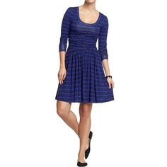 Old Navy Womens Patterned Jersey Dresses ($23) ❤ liked on Polyvore featuring dresses, blue, petite, ruched dress, circle skirt, ruffle dress, blue circle skirt and jersey dress
