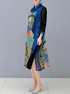 O-NEWE Vintage Stand Collar 3/4 Sleeves Printed Dresses
