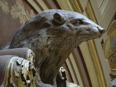 badger: Statue of a Badger, the mascot of Wisconsin, in the State Capital Building. Stock Photo