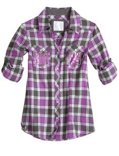 Plaid Shirt with Embellished Pockets Little Girl Outfits, Cool Outfits, Cute Fashion, Girl Fashion, Katies Fashion, Tops Online Shopping, Cold Shoulder Shirt, Justice Clothing, Stylish Shirts