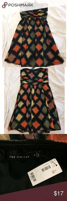 NWT 🌻 The Limited Strapless Dress SZ 10 This super cute Limited dress is brand new with tags attached. Size 10. Has colorful (green, mustard yellow, orange and brown) square pattern throughout the black dress. Perfect for spring summer and fall. Lightweight and super comfortable. The Limited Dresses Strapless