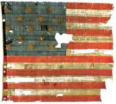 USA flag after bombardment of Fort McHenry -- Taken June 21, 1873. The family of Maj. George Armistead gave the Star-Spangled Flag to the Smithsonian in 1912.