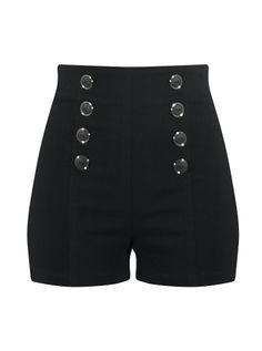 "Women's ""High Waist"" Pin Me Up Shorts by Double Trouble Apparel (Black)"