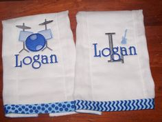 Custom Burpcloth Set of 2 Burpies Monogrammed Personalized Music Rock or choose your own theme