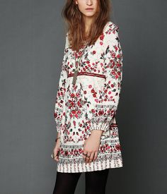 FREE PEOPLE XS Ivory Babydoll Dress Red Floral Printed Long Sleeve Sequin Mini 2  | eBay