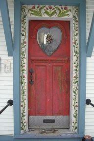 """Heart window on door--Love it! I would do the painting a little different, but I like the idea of it. """"D""""ebb De deur naar liefde, evenwicht, zelfaanvaarding, mededogen en toewijding."""