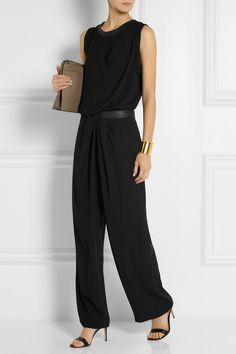 Dion Lee Leather-trimmed draped crepe top NET-A-PORTER.COM