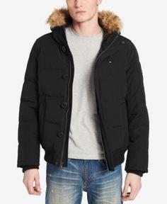 35b8d639 Tommy Hilfiger Men's Big & Tall Parka with Faux-Fur Trimmed Hood - Black