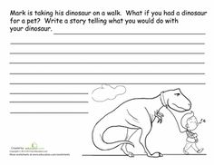 Second Grade Reading & Writing Worksheets: Dinosaur Story Starter Dinosaur Worksheets, Dinosaur Activities, Writing Worksheets, Writing Activities, Dinosaur Dinosaur, Homeschool Worksheets, Daycare Curriculum, Teaching Writing, Homeschooling