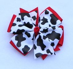 "Basic Hair Bows, Cow Print Hair Bow, 4-H Hair Bows, Cow Boutique Bow, Simple Bow,  4"" Hair Bow, Large Pinwheel Hair Bow, Holstein Hair Bow by LizzyBugsBowtique on Etsy"