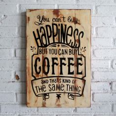 beli kopi ajah.  Spray stencil on wood. 40 x 60 x 2 cm  #woodsign #homedecoration #homeandliving #vintage #alldecos #coffee #happiness