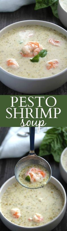 Basil pesto, tender shrimp, and earthy sage come together in this light & creamy Pesto Shrimp Soup.   strawmarysmith.com