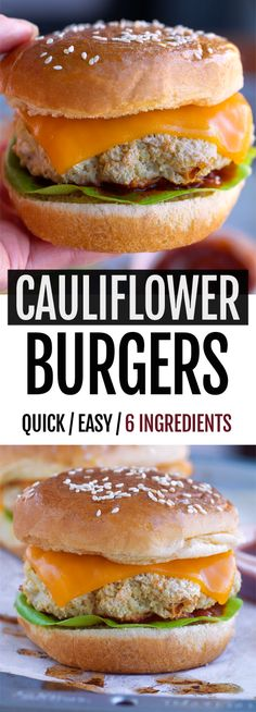 Fat, juicy, super healthy, and totally vegan cauliflower burgers! Cauliflower Burgers – 6 Ingredients A few weeks ago in an interview, I was asked what food trends I thought would… Cauliflower Burger, Vegan Cauliflower, Cauliflower Recipes, Veggie Recipes, Beef Recipes, Whole Food Recipes, Vegetarian Recipes, Cooking Recipes, Healthy Recipes
