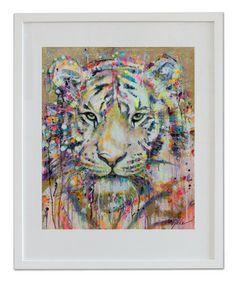 "Saatchi Art Artist Lykke Steenbach Josephsen; Printmaking, ""Tiger - hand colored art print"" #art"