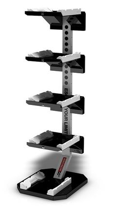 RACK5 ~ RACK5 is a versatile storage solution that will keep your facility tidy and your functional equipment in peak condition when not in use. From Bulgarian Bags to CMTs or Foam Rollers, RACK5 offers them a stylish, dedicated home so members and trainers can grab what they need and get to work. # fitness @escapefitness