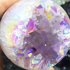 "hope-for-snow: "" sensorys: "" Angel aura geode sphere "" MEGA STONES "" Minerals And Gemstones, Crystals Minerals, Stones And Crystals, Natural Gemstones, Raw Gemstones, Gem Stones, White Aura, Crystal Brooch, Iridescent"