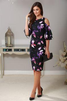 Lana Black Floral Cold Shoulder Dress