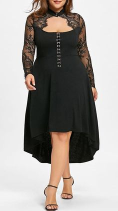 GAMISS Womens Plus Size Lace Up High Low Hem Vintage Dress Black     To  view further for this item b893034b6faf