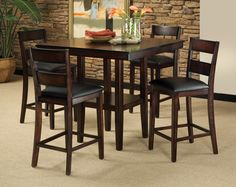 Dark Brown, Black Seats | Pendwood 5-Piece Counter Heigh Dining Sett | American Freight
