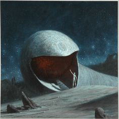 John Schoenherr - Sandworms of Dune oil on masonite - 1977 - Caedmon TC 1565 Sandworms of Dune by Frank Herbet Record jacket