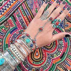 Einstellbare Handstück Combo Silber vergoldet Kette Armband und Ring Bohemian Summer Festival Schmuck SLAVE Armband Stil inspiriert Inali