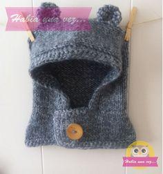 Gorro osito gris tejido a mano con lana antialergica para niños y niñas.
