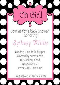 Oh Girl Baby Shower Black White Polka Dots Pink Invitations