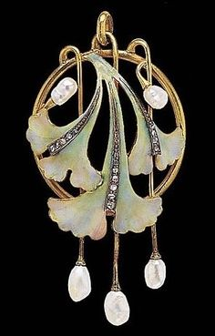 Art Nouveau Pendant – Brooch with enamel, pearls and diamonds (hva)