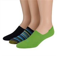 Gold Toe Men's Socks Multi Stripe No Show Black
