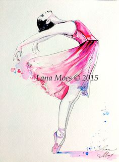 Ballerina Pink Illustration Print from Original Watercolor Painting - Ballet…
