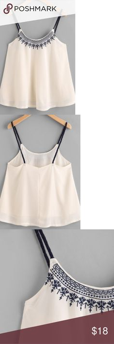 "Embroidered chiffon overlay cami/crop top New. Cream/navy blue. Chest 34"", length 17"". Tops"