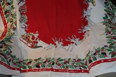 Vintage Cloth Tablecloth Merry Christmas With Santa Sleigh Reindeer & packages
