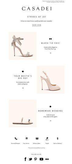 #newsletter Casadei 04.2016 Your Best Friend's Wedding Newsletter Layout, Email Layout, Email Newsletter Design, Email Newsletters, Newsletter Ideas, Free Email Templates, Lookbook Design, Email Design Inspiration, Email Marketing Design