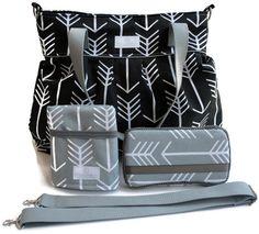 Diaper Bag Gift Set - Black Arrow Diaper Bag - Grey Arrow Travel Pad - Grey Arrow Wipes Case - Messenger Strap