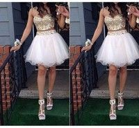 Wish | Gold Crystal White Two Pieces Homecoming Dresses Sexy Spaghetti Straps Short Party Cocktail Gowns Prom Dress