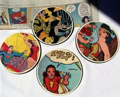 Mod Podge comic book coasters