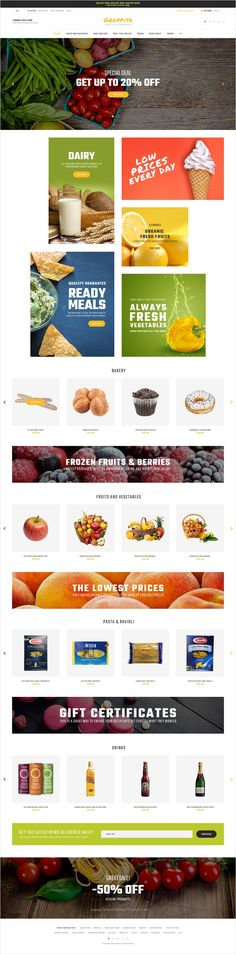 Buy Gropitta - Food Supermarket Magento 2 Theme by ZEMEZ on ThemeForest. Gropitta is a responsive Magento 2 theme tailor-made for food stores. Web Design Color, Website Themes, Fresh Vegetables, Ecommerce, Modern Design, Berries, Meals, Fruit, Creative