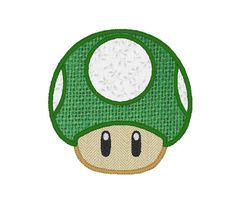 Toadstool Applique Embroidery Design Pattern for Machine Super Mario Bros Brothers Invincible Nintendo Kawaii one up 1up Vintage Mushroom