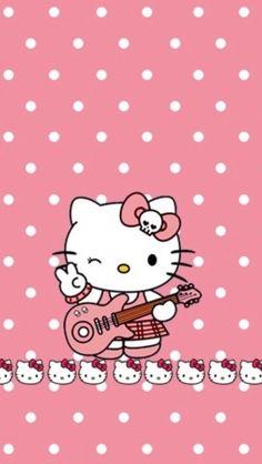 """ℋellØ  KittY  Rock'N Roll  """"RøSe à petit pois blanc""""  ~  HellØ  KittY  ~ [Sanrio®] ~ [⭐️WallPaper⭐️]"""
