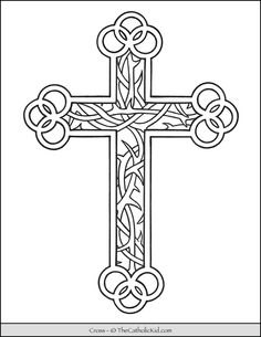 Cross Coloring Page, Cat Coloring Page, Colouring Pages, Coloring Pages For Kids, Cross Drawing, Bible Quiz, Navy Anchor, Easter Cross, Palm Sunday
