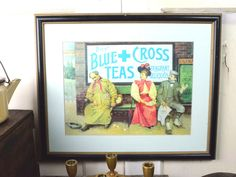 Victorian Framed Print Blue Cross Teas Vintage Advertisement Wall Art Bar Prohibition for Tea Room or Restaurant by fancypak on Etsy https://www.etsy.com/listing/267064676/victorian-framed-print-blue-cross-teas