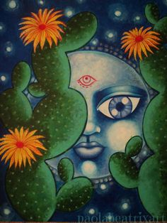 Original painting-acrylic painting-home decor-gift idea-moon-cactus-cactus painting-cactus decor-original artwork-artwork-full moon painting