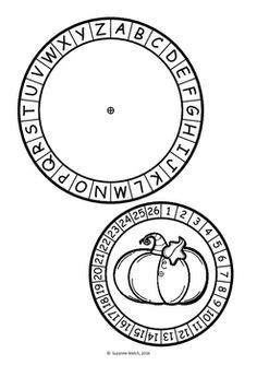Secret Message Code Wheel  -  Halloween  -  (alphabet & numbers) The Hallow, Halloween Jokes, Secret Code, Alphabet And Numbers, Classroom Resources, Print Templates, Occult, Booklet, Coding