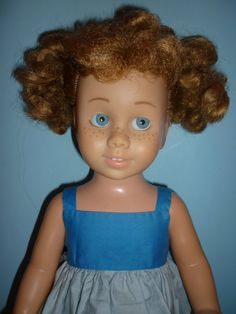 SOLD- 1960's - Dee Cee - Canadian Chatty Cathy Doll -Blonde Piggy with Blue Glassiene Eyes -Wears Mattel Two Toned Blue Dress