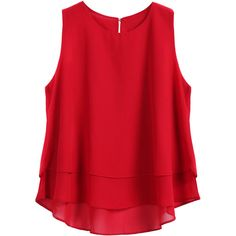 SheIn(sheinside) Red Round Neck Loose Dip Hem Chiffon Tank Top (34 BRL) ❤ liked on Polyvore featuring tops, shirts, tank tops, tanks, red, chiffon shirt, red tank, red chiffon shirt, loose fit tank top and loose tank tops