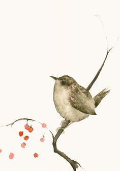 Bird Watercolor Artwork Fine Art Print Wren by dearpumpernickel, $28.00