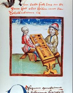 Zwei Trick-Track-Spieler am Spieltisch aus einem 1479 in Konstanz entstandenem Schachzabelbuch. [Two trick-track players at the table from a 1479 entstandenem Constance Zabel chess book.]