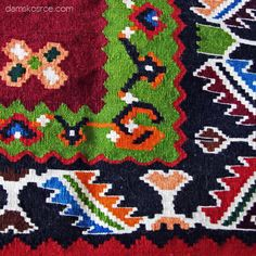 """Пиротски ћилим, """"Зорићева шара"""", детаљ. Pirot kilim is a unique and highly regarded brand of flat tapestry-woven carpets or rugs, made of pure sheep's wool ( from Stara Planina, southeastern Serbia), dyed with natural colours and long enduring. Has 28 weave lines in 1cm and both sides of the rug can be used. Its ornaments are unique: 96 of them are geographically protected exclusively made in Pirot, Serbia. Handicraft society """"Lady's Heart"""": www.damskosrce.com"""