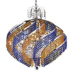 "Elegant Lighting 8053D26C/RC Spiral Collection Dining Room Hanging Fixture D26"" x H25"" Chrome Finish (Royal Cut Crystals)"