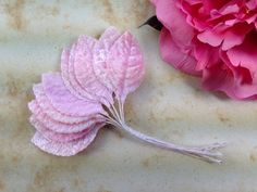 20 Vintage Millinery Hat Supplies Flower Velvet Fabric Leaf Leaves 1 7/8  Pink #